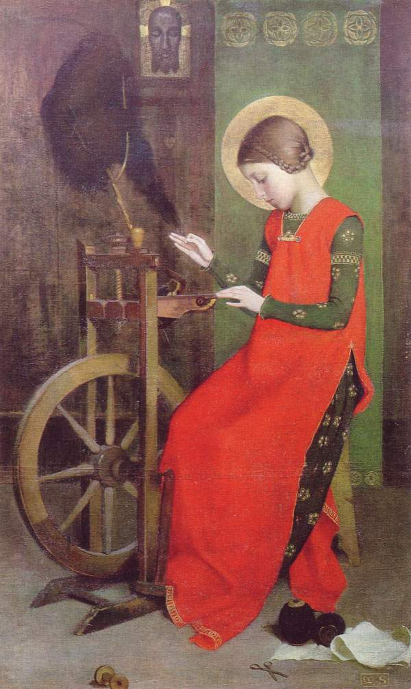 Marianne Stokes – St. Elizabeth of Hungary Spinning for the Poor