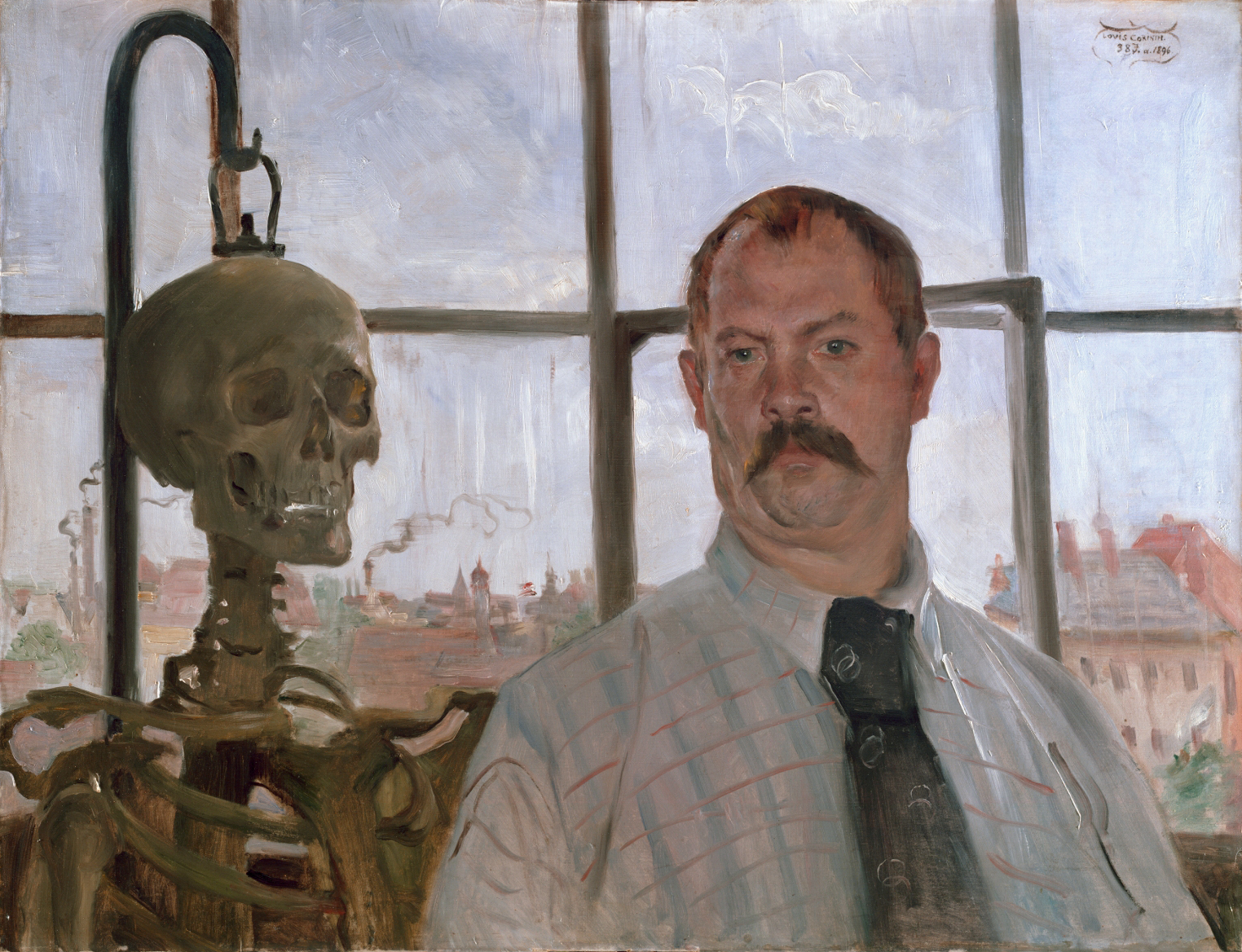 Self-portrait with skeleton, by Lovis Corinth