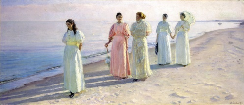 Michael Ancher - A stroll on the beach