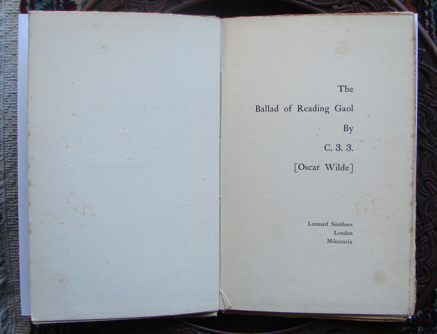 The Ballad of Reading Gaol 1899 Title Page