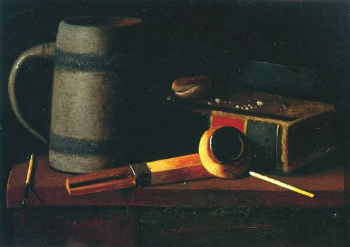 John F. Peto – Still life with Mug, Pipe and Book