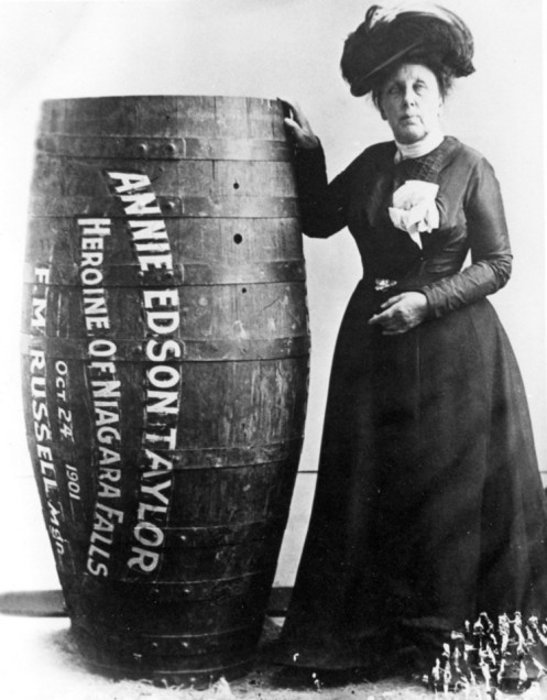 Annie Edson Taylor, a 63-year old schoolteacher from Bay City, Michigan, became the first person to plunge over Niagara Falls in a barrel and to survive