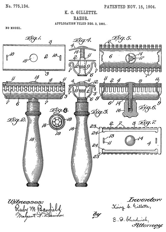 Gillette patents a disposable razor blade system
