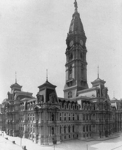 Philadelphia City Hall in Philadelphia, Pennsylvania, designed by John McArthur, Jr., is completed, the world's tallest occupied masonry building