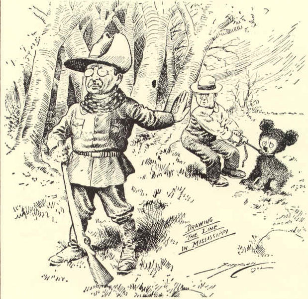 The first Teddy Bear is created, based on this drawing of Theodore Roosevelt sparing the life of a bear cub