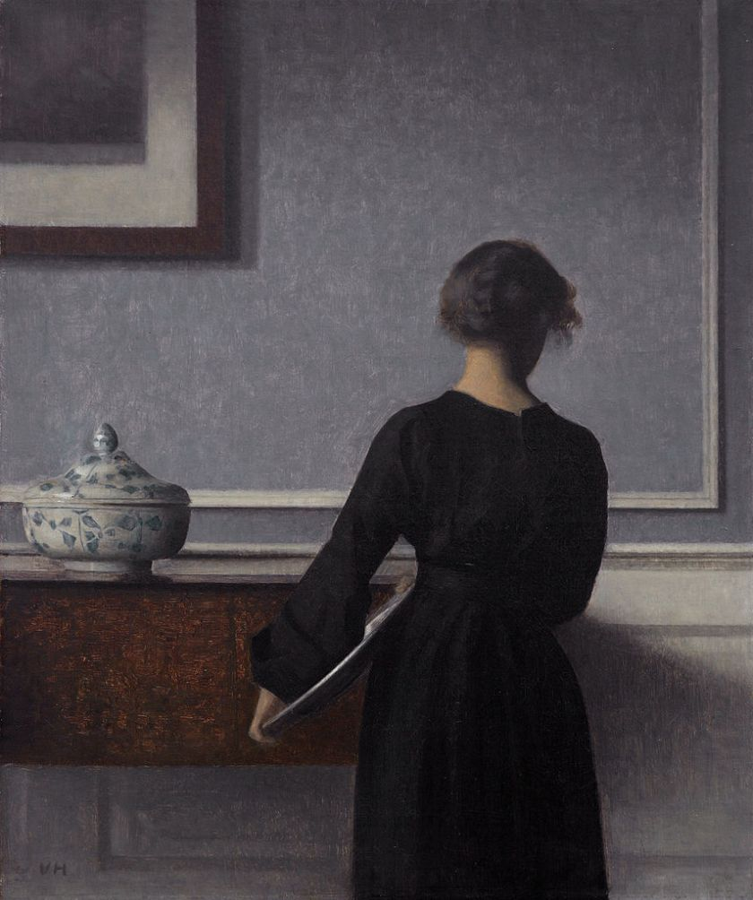 Vilhelm Hammershøi – Interior with Young Woman Seen from the Back