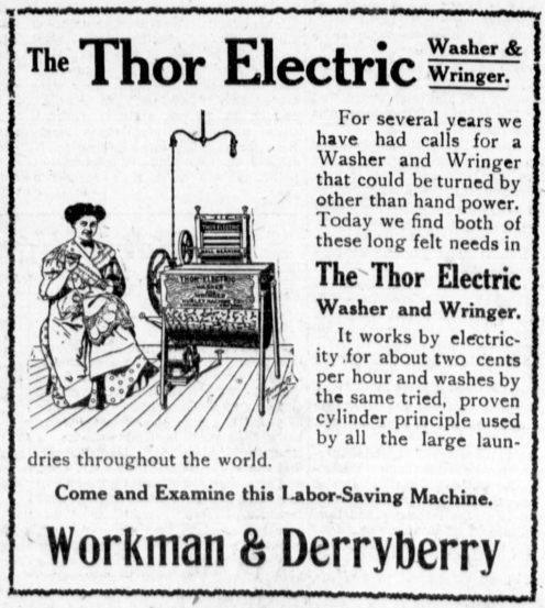 August 9th - The Thor, the first commercially successful, automatic, washing machine, invented by Alva J. Fisher, is granted U.S. Patent No. 966,677