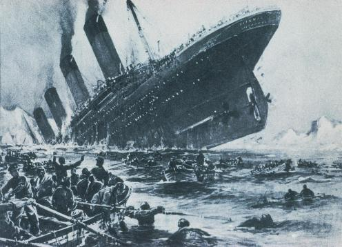 April 14 - At 1140pm, RMS Titanic strikes an iceberg in the North Atlantic Ocean. The ship stas afloat for two hours and forty minutes. Only 705 of the people on board survive, while 1,500 die.