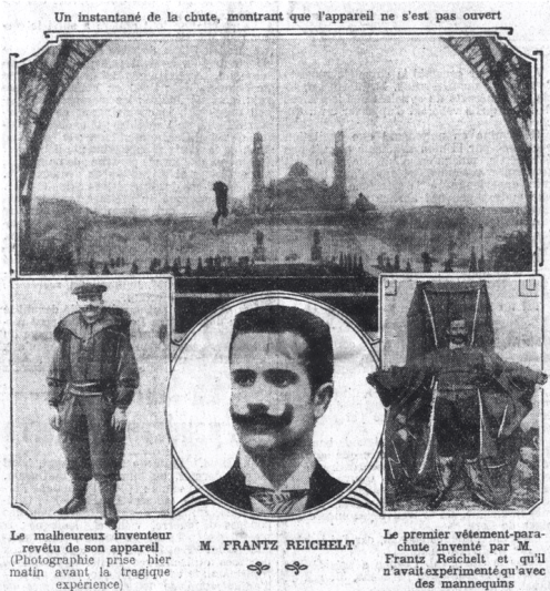 February 4 - Franz Reichelt, 32, French tailor and engineer, plunges to his death after jumping from the Eiffel Tower to test a wearable parachute..png