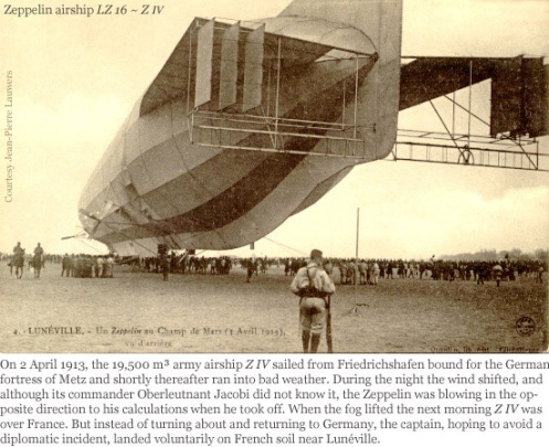 April 3 - The 550 foot long German dirigible Z-4 strays into French territory, runs out of fuel, and is seized by the French Army