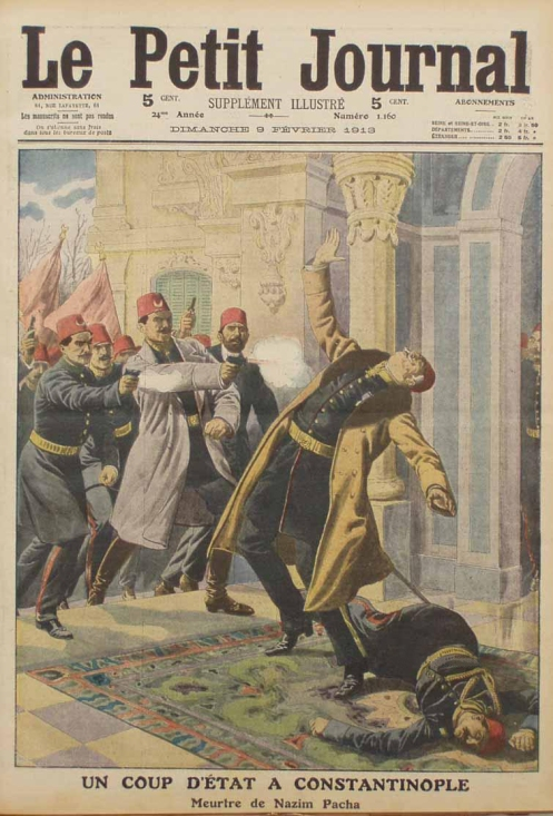 January 23 - Ottoman Empire Navy Minister Nazim is assassinated, and Prime Minister Kamil overthrown in a coup in Turkey