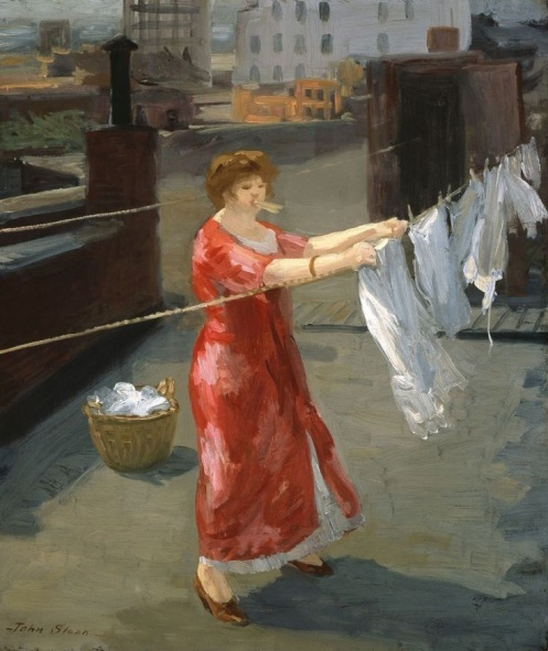 John Sloan - Red Kimono on the Roof