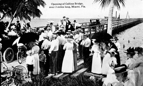 June 12 - Billed as 'the longest wooden bridge in the world', the 2.5 mile long Collins Bridge opens, turning the small town of Miami, Florida into a premier resort area.
