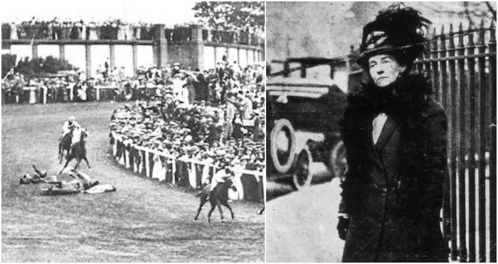 June 8 - Sufragette Emily Davison dies after being hit by King George V's horse Anmer at the 1913 Derby after she walks onto the track during the race.