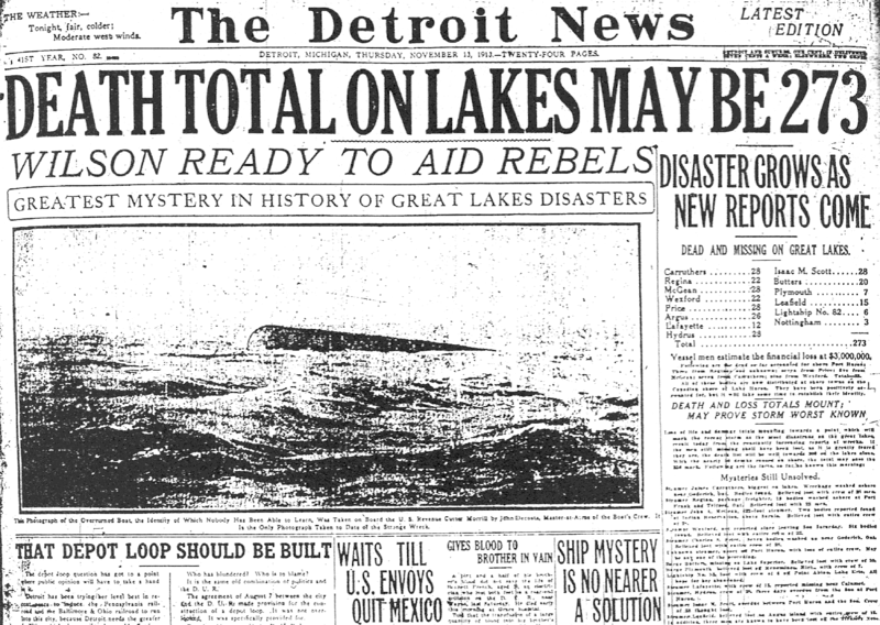 November 9 - The 'White Hurricane' gale sinks 19 ships on Michigan's Great Lakes, drowning hundreds