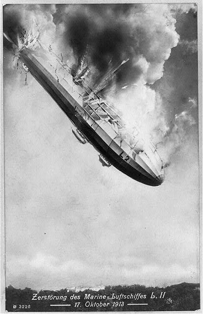 October 17 - In the worst air disaster up to that date, the German zeppelin L-2 exploded in mid-air, 600 feet over the city of Johannisthal, killing all 28 passengers and crew on board