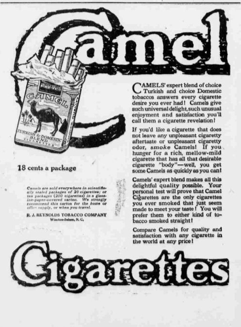 October 21 - Camel cigarettes are introduced by the R. J. Reynolds Tobacco Company