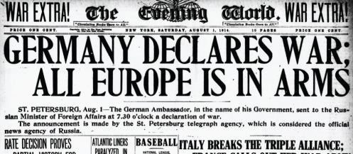 August 1 - Germany declares war on Russia, following Russia's military mobilization in support of Serbia. Germany also begins mobilisation.