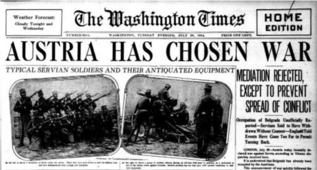 July 28 - Austria-Hungary declares war on Serbia by telegram. Tsar Nicholas II of Russia orders a partial mobilisation against Austria-Hungary.