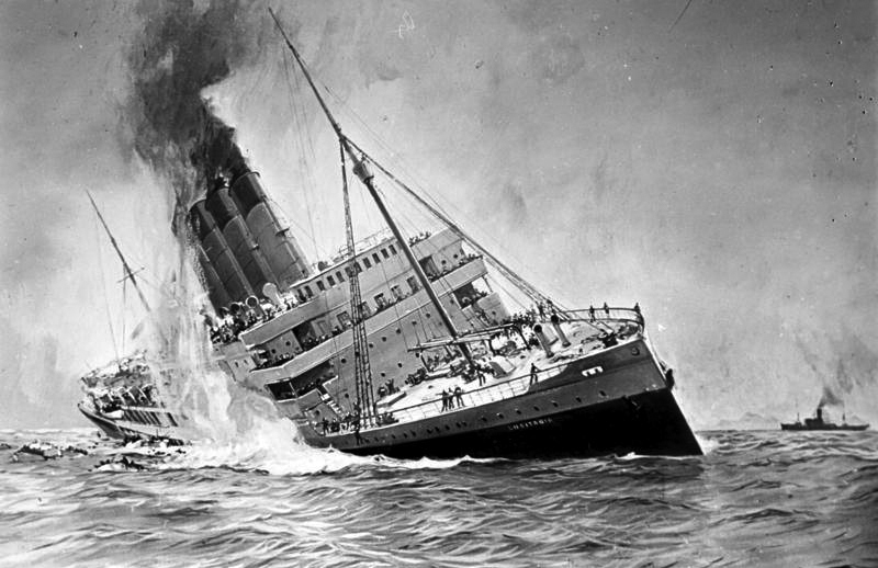 May 7 – The British ocean liner RMS Lusitania is sunk by German U-boat U-20 off the south-west coast of Ireland, killing 1,198 civilians en route from New York to Liverpool.