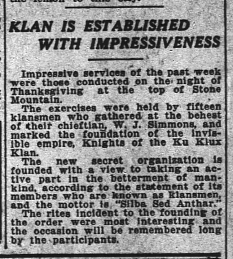 November 24 – William J. Simmons revives the American Civil War era Ku Klux Klan at Stone Mountain, Georgia.