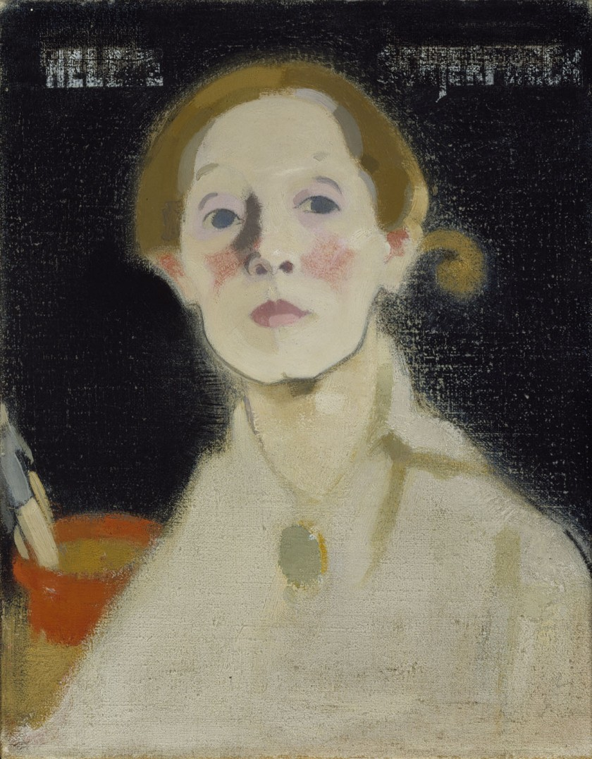 Helene Schjerfbeck – Self-portrait with black background