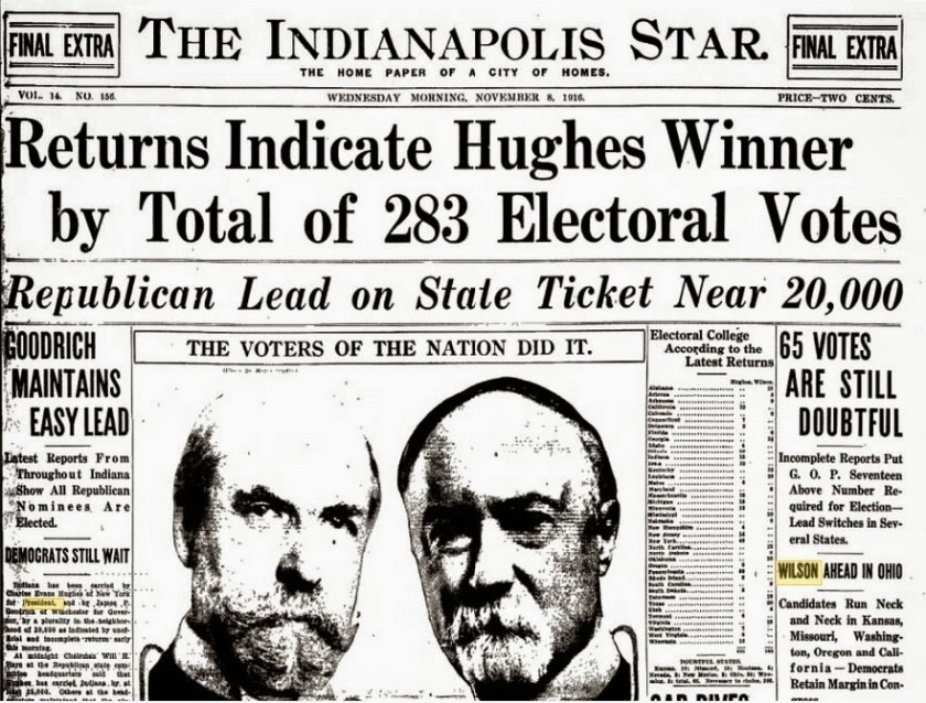 November 7 - In The U.S. presidential election, Democratic President Woodrow Wilson narrowly defeats Republican Charles E. Hughes.