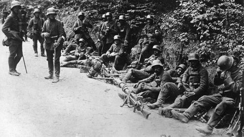 October 24 - At the Battle of Caporetto Austrian and German forces penetrate Italian lines as far south as the Piave River.