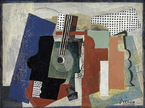 Pablo Picasso - Still-life with Door, Guitar and Bottles