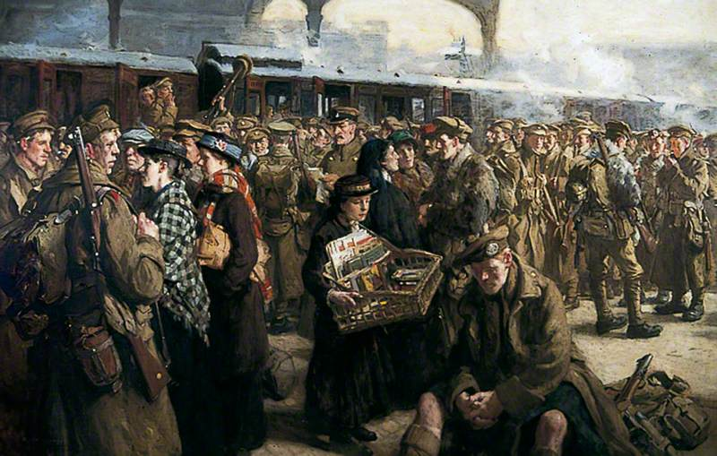 Jack, Richard, 1866-1952; The Return to the Front: Victoria Railway Station