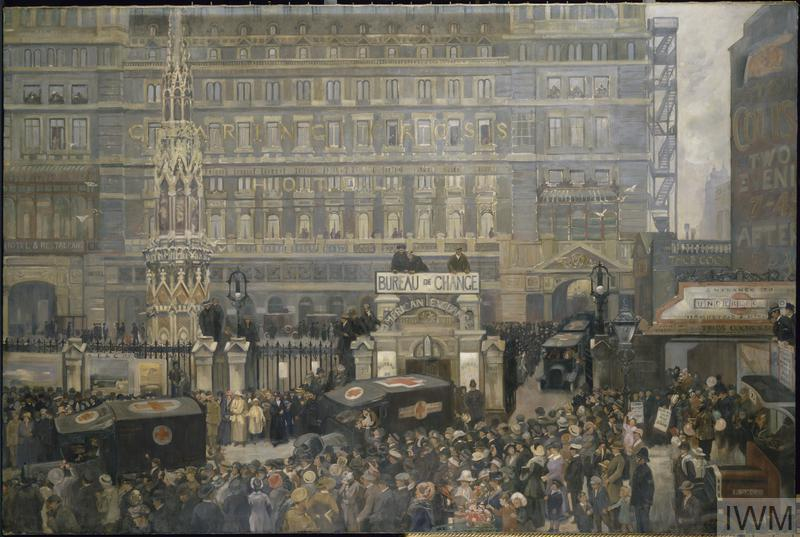 John Hodgson Lobley - Outside Charing Cross Station, July 1916