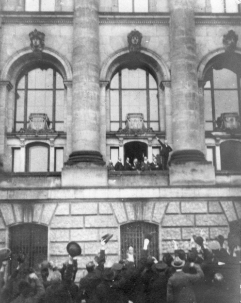 November 9 - Kaiser Wilhelm II of Germany abdicates and chooses to live in exile in the Netherlands. The German Republic is proclaimed by Philipp Scheidemann in Berlin, on the Reichstag balcony