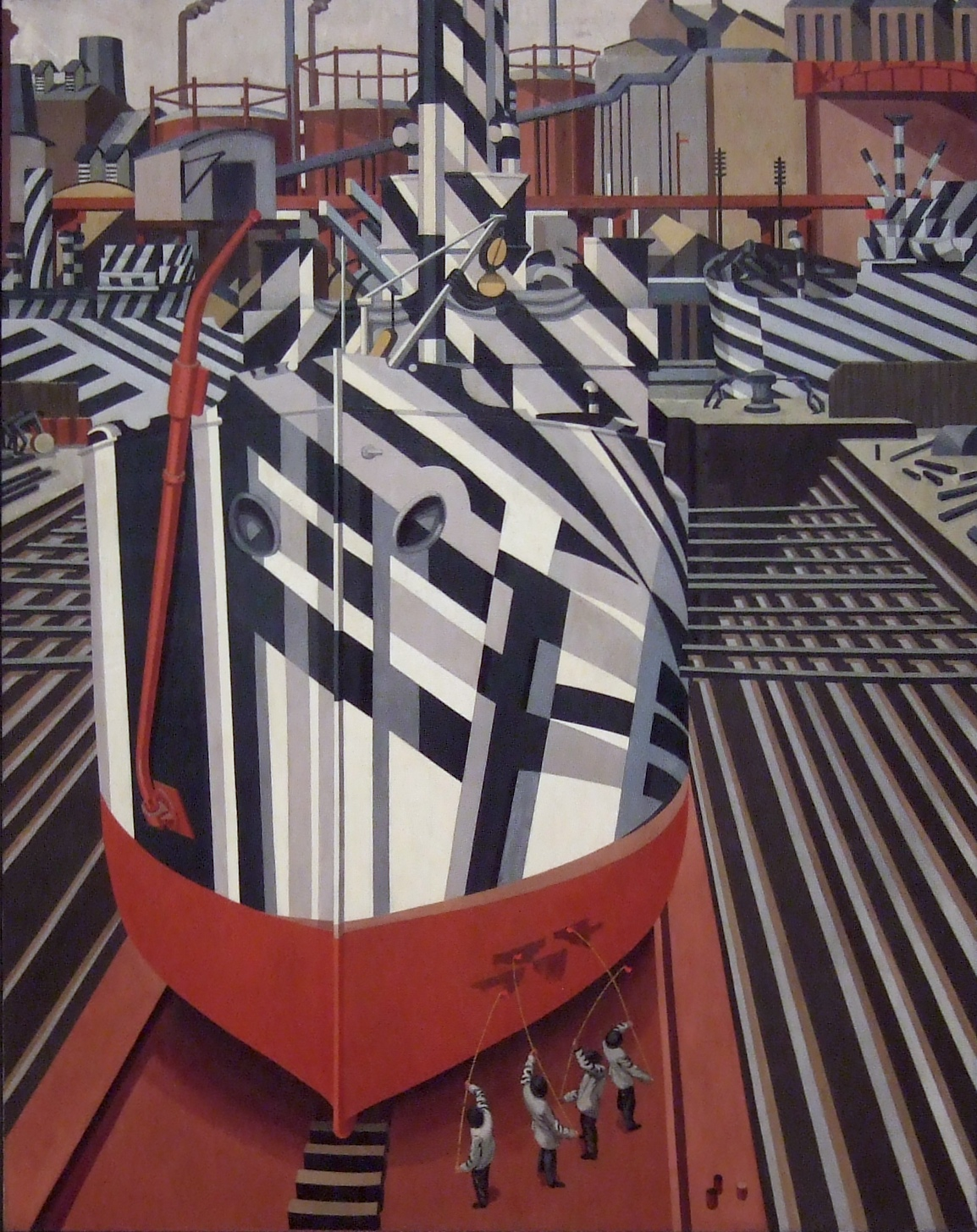 Edward Wadsworth – Dazzle-ships in Drydock at Liverpool.jpg