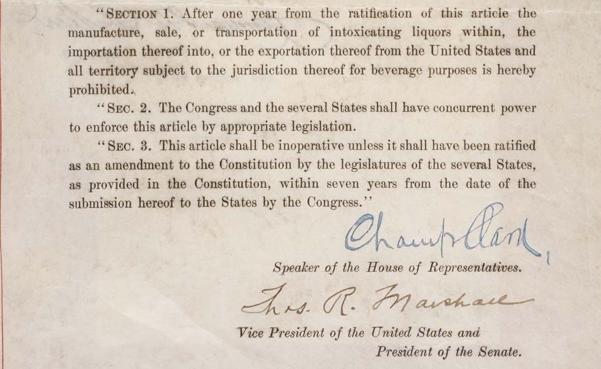 January 16 - The Eighteenth Amendment to the United States Constitution, authorizing Prohibition, is ratified.