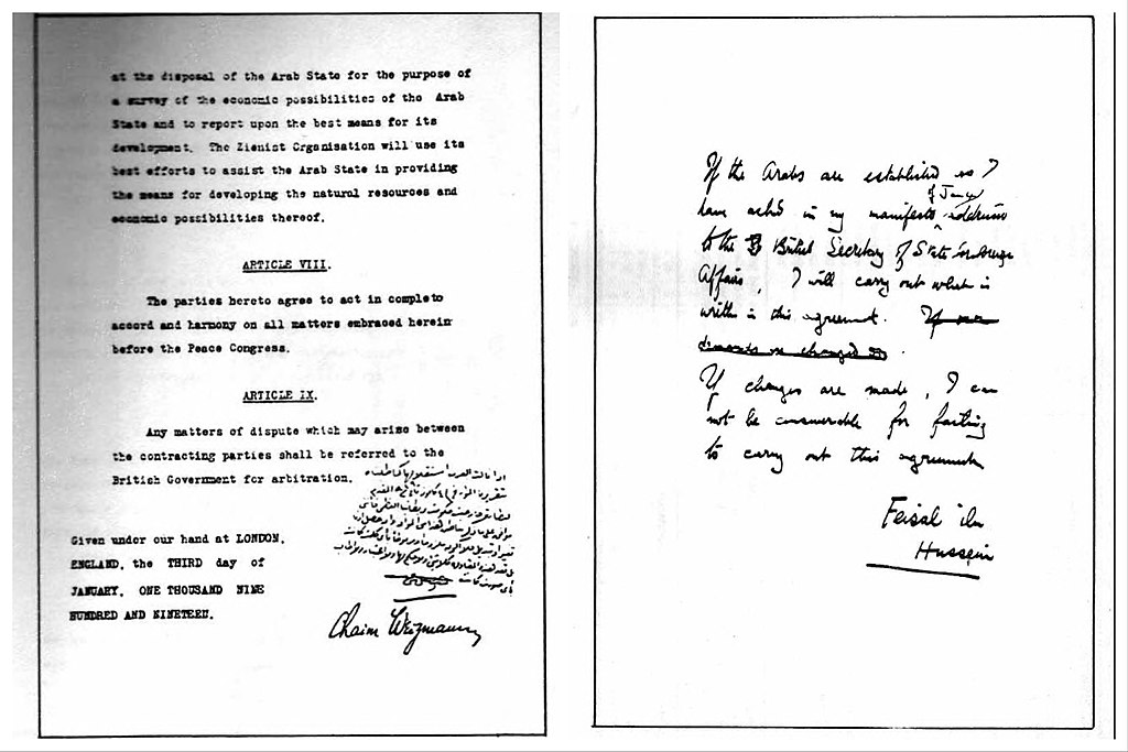 January 3 – The Faisal–Weizmann Agreement is signed by Emir Faisal and Zionist leader Chaim Weizmann, for Arab–Jewish cooperation in the development of Jewish and Palestinann homelands