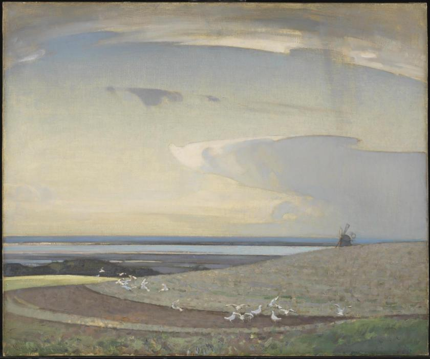 The Line of the Plough exhibited 1919 by Sir Arnesby Brown 1866-1955