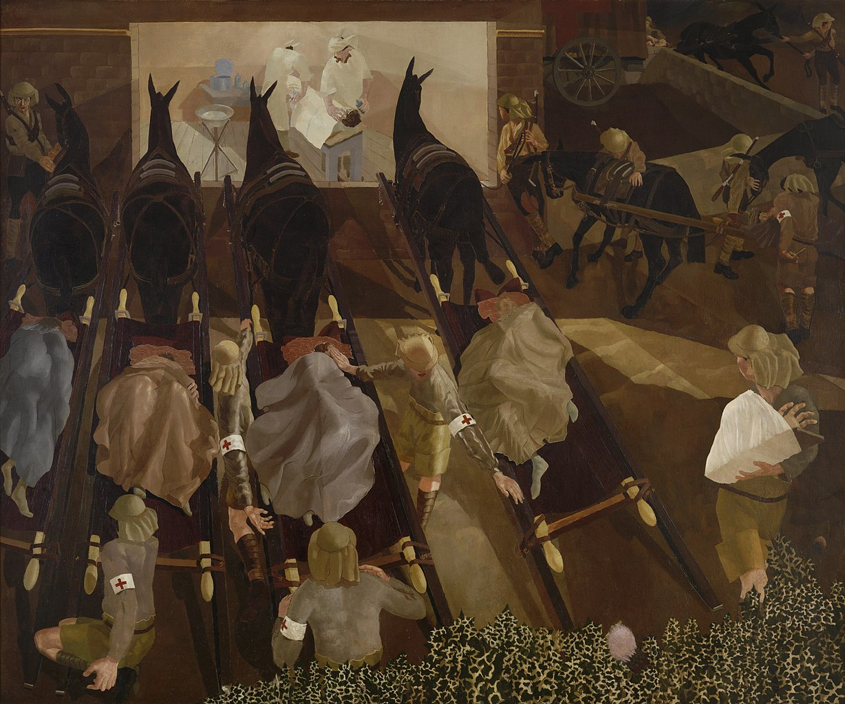Stanley Spencer – Travoys with Wounded Soldiers Arriving at a Dressing Station at Smol, Macedonia, September 1916