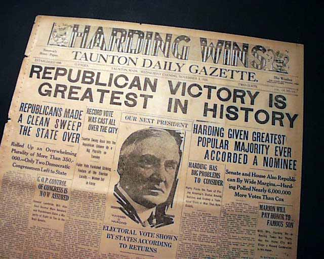 November 2 - In the US presidential election, Republican Warren G. Harding defeats Democrat James M. Cox and Socialist Eugene V. Debs