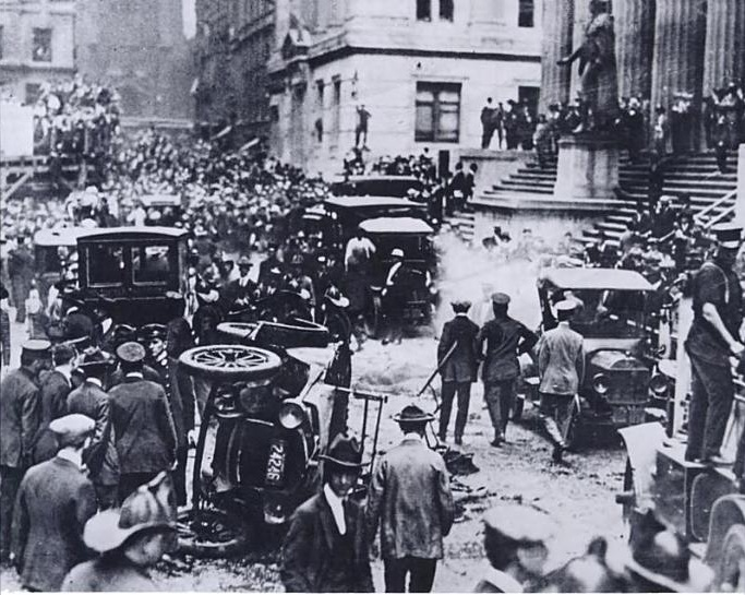 September 16 – A bomb in a horse wagon explodes in front of the J. P. Morgan building in New York City, killing 38 and injuring 400