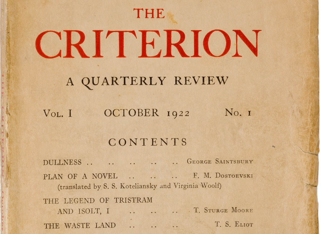 October 15 – T. S. Eliot establishes The Criterion magazine, containing the first publication of his poem The Waste Land.
