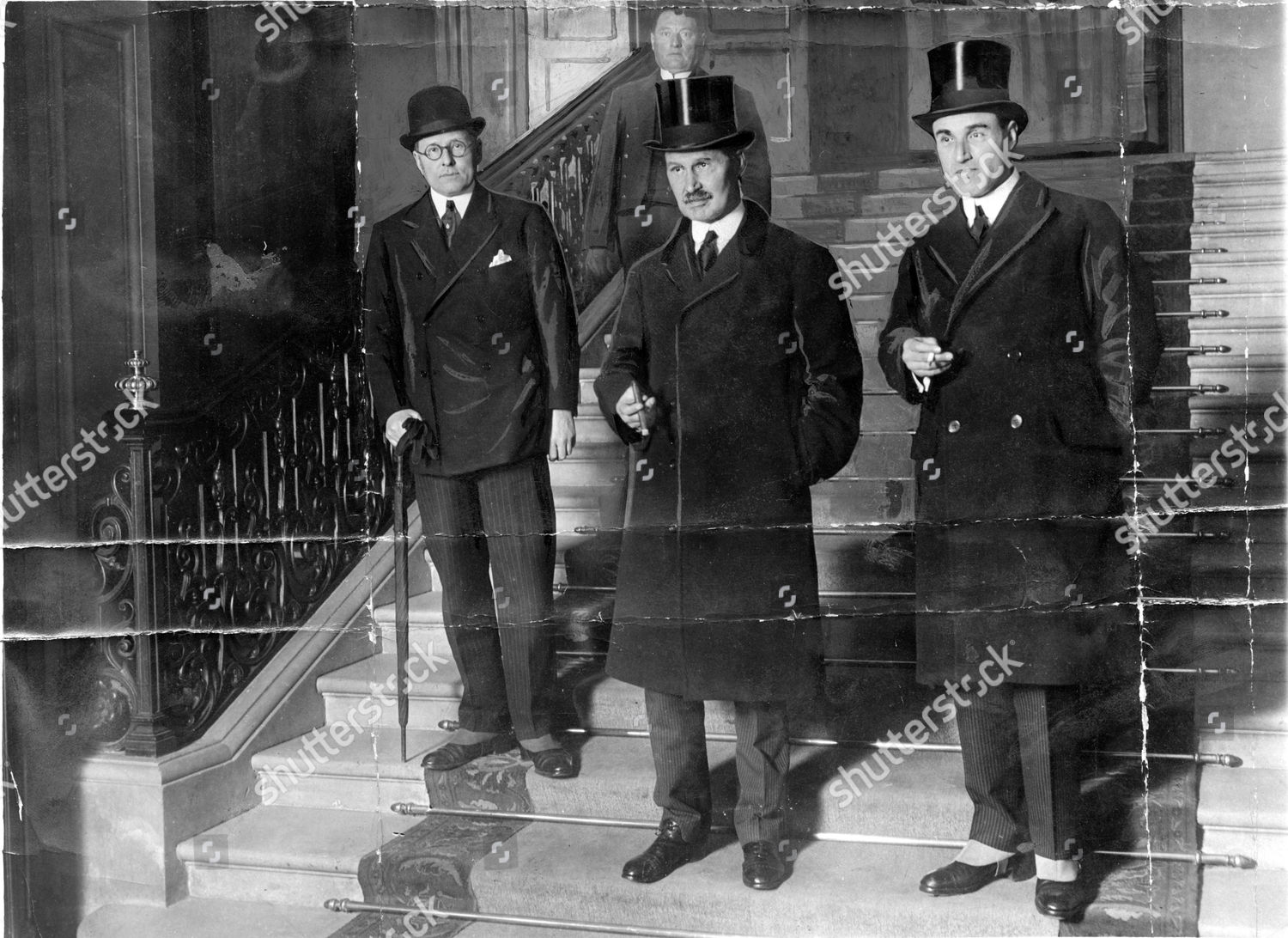 The Rt Hon Andrew Bonar Law (died October 1923) Conservative Party Prime Minister From 23 October 1922 Until 22 May 1923. Bonar (centre) Is Pictured Leaving The Quai D'orsay Paris France With Sir Philip Lloyd-graeme President Of The Board Of Trade (